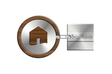 lucido: Gadget 2 house in steel and wood labeled Bratislava Stock Photo