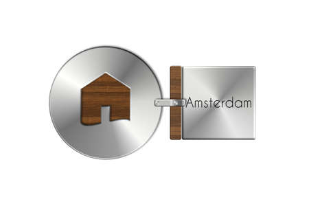 lucido: Gadgets house in steel and wood labeled Amsterdam Stock Photo