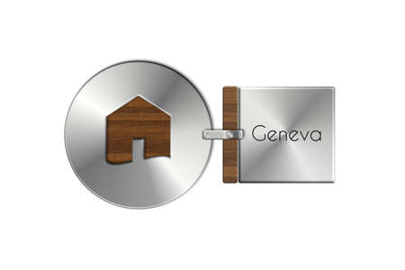 icona: Gadgets house in steel and wood labeled Geneva. Stock Photo