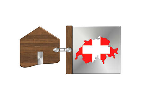 lucido: Gadgets house in steel and wood with label nation Switzerland Stock Photo