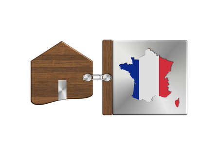 icona: Gadgets house in steel and wood with label nation France Stock Photo