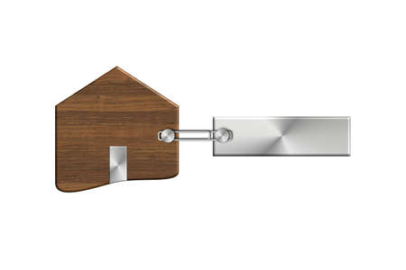 lucido: Gadgets house in steel and wood with label