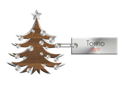 albero: Gadgets Christmas in steel and wood labeled Torino 2017. Stock Photo