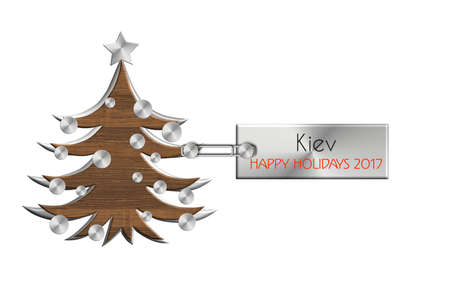 albero: Gadgets Christmas in steel and wood labeled Kiev happy holidays 2017 Stock Photo