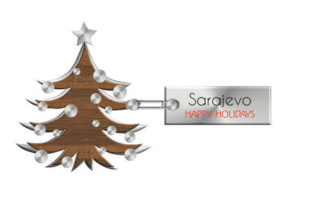 Gadgets Christmas in steel and wood labeled Sarajevo happy holidays. Stock Photo
