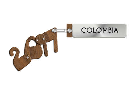 albero: Gadgets 2017 steel and wood with COLOMBIA label