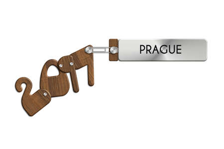 icona: Gadgets 2017 steel and wood with PRAGUE label