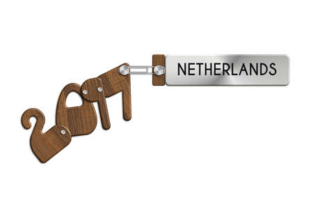 Gadgets 2017 steel and wood with NETHERLANDES label Stock Photo