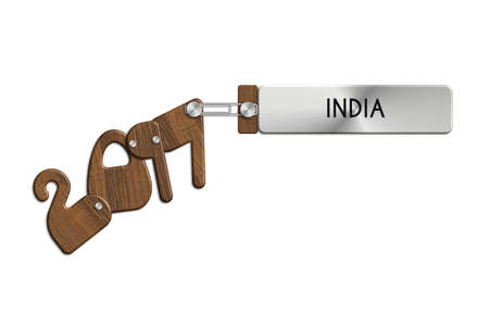 anno: Gadgets 2017 labeled INDIA steel and wood Stock Photo