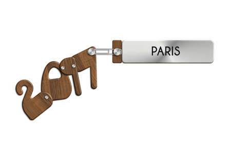 Gadgets 2017 steel and wood labeled PARIS Stock Photo