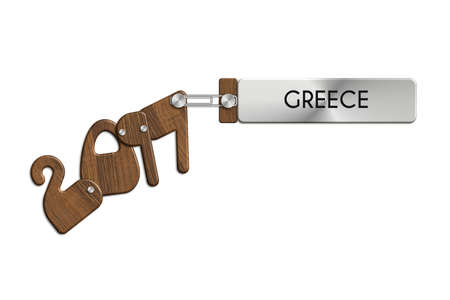 albero: Gadgets 2017 steel and wood with label GREECE Stock Photo