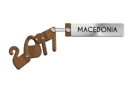 Gadgets 2017 steel and wood with label MACEDONIA