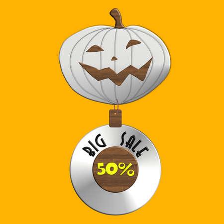 Halloween BIG SALE steel and wood Stock Photo
