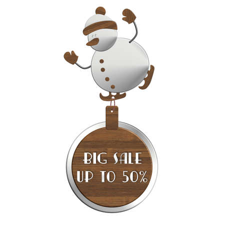 snowman wood: Snowman BIG SALE steel and wood Stock Photo