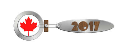 turns of the year: Gadget Canada in 2017 in steel and wood Stock Photo