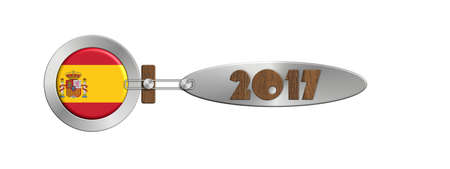 turn of the year: Gadget Spain in 2017 in steel and wood Stock Photo