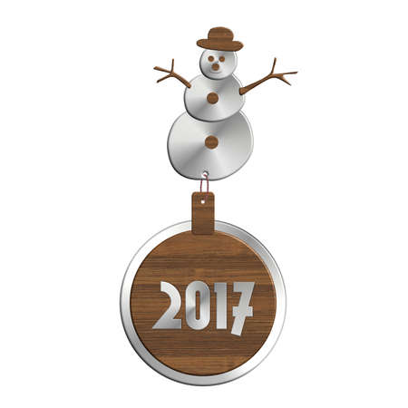 Snowman 2017 steel and wood