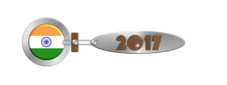 turn of the year: Gadgets India in 2017 in steel and wood Stock Photo