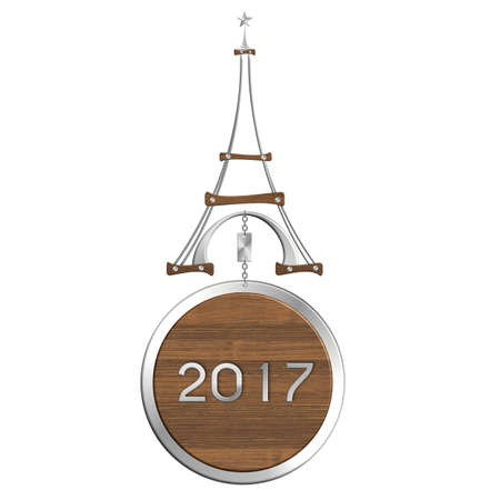 2017 Eiffel Tower in steel and wood with Christmas bauble