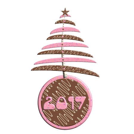Christmas cookie tree 2017 Christmas bauble Stock Photo