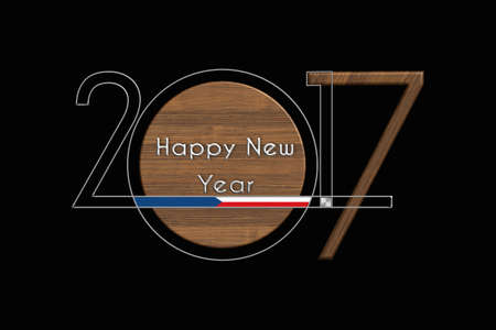 turns of the year: Happy New Year 2017 Czech Republic steel and wood