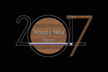 turn of the year: Happy New Year 2017 Russian steel and wood