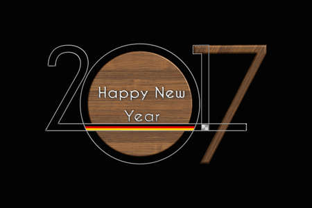 turns of the year: Happy New Year 2017 Germany steel and wood Stock Photo