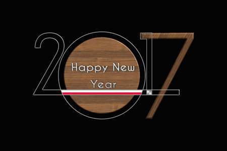 turns of the year: Happy New Year 2017 Poland steel and wood