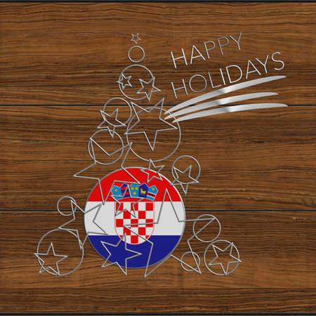 icona: Happy Christmas tree Kolidays steel and wood Croatia