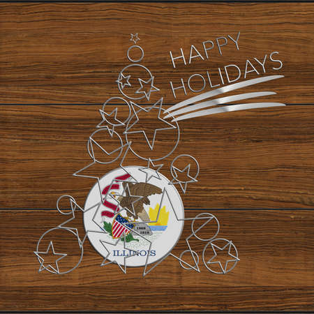 Happy Christmas tree Kolidays steel and wood Illinois.