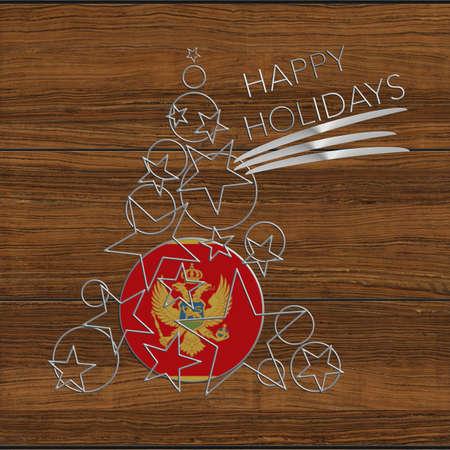 icona: Happy Christmas tree Kolidays steel and wood Montenegro