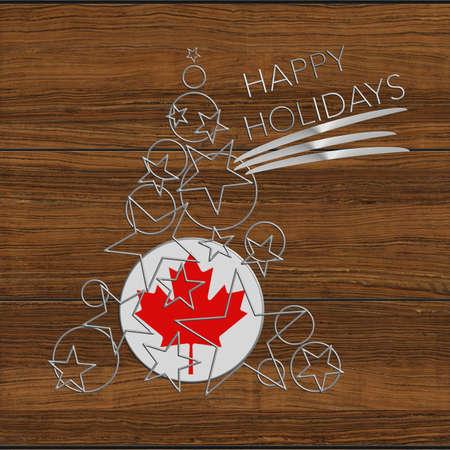 icona: Happy Christmas tree Kolidays steel and wood Canada Stock Photo