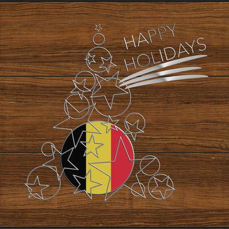 Happy Christmas tree Kolidays steel and wood Belgium