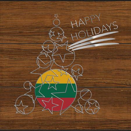 Happy Christmas tree Kolidays steel and wood Lithuania Stock Photo