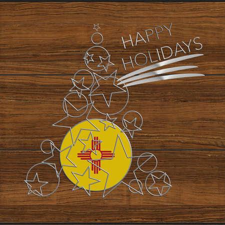 icona: Happy Christmas tree Kolidays steel and wood New Mexico