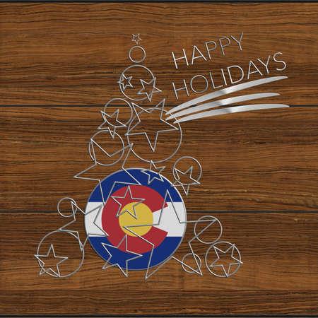 Happy Christmas tree in Colorado Kolidays steel and wood
