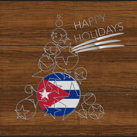 Happy Christmas tree Kolidays steel and wooden Cuba Stock Photo