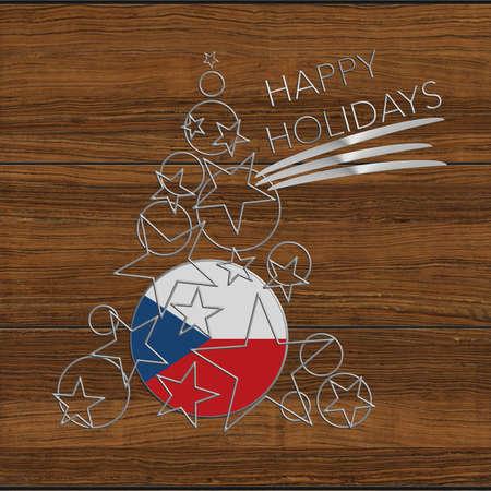 Happy Christmas tree Kolidays Czech Republic steel and wood Stock Photo