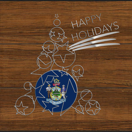 Happy Christmas tree Kolidays steel and wood Maine