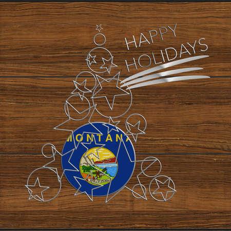 Happy Christmas tree Kolidays steel and wooden Montana Stock Photo