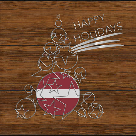 Happy Christmas tree Kolidays steel and wood Latvia Stock Photo