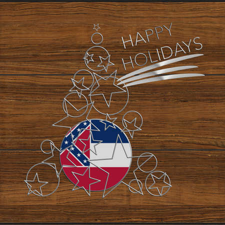 lucido: Happy Christmas tree Kolidays steel and wood Mississippi Stock Photo