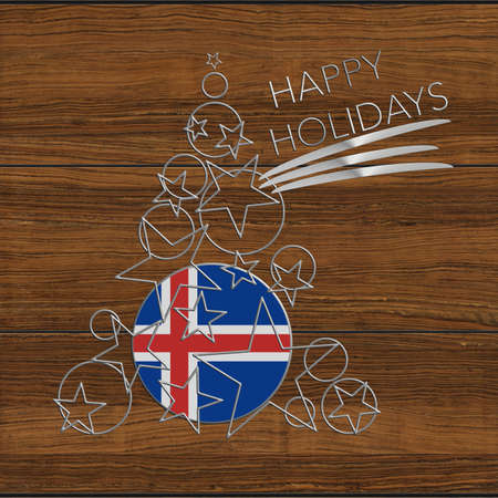 Happy Christmas tree Kolidays steel and wood Iceland