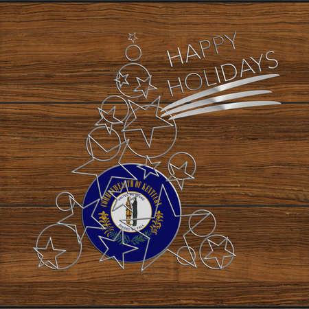 Happy Christmas tree Kolidays steel and wood Kentucky Stock Photo