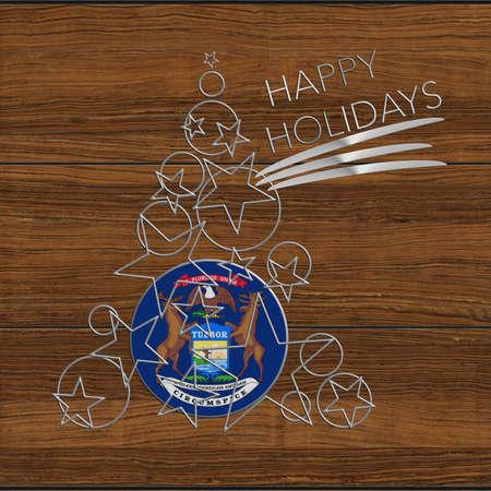 Christmas tree Happy Kolidays steel and wooden Michigan