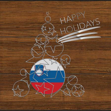 icona: Happy Christmas tree Kolidays steel and wood Slovenia Stock Photo