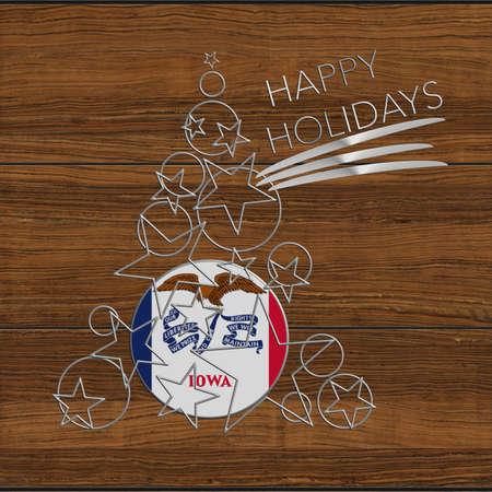 Happy Christmas tree Kolidays steel and wood Iowa