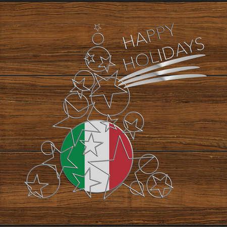 Happy Christmas tree Kolidays steel and wood Italy