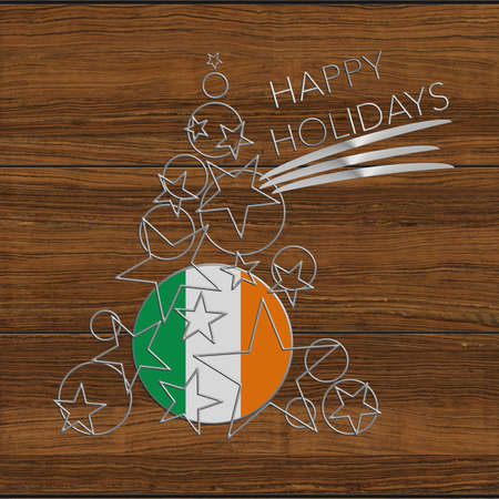 Happy Christmas tree Kolidays steel and wood Ireland