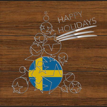 Happy Christmas tree Kolidays steel and wood Sweden